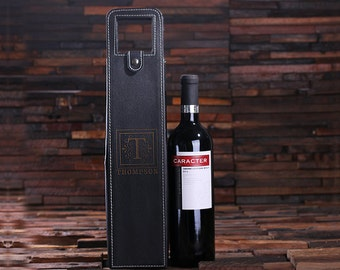Personalized Engraved Monogrammed Leather Wine Bottle Holder Pouch His & Her Wedding Gift, House Warming Gift or Holiday Gifts(024273)