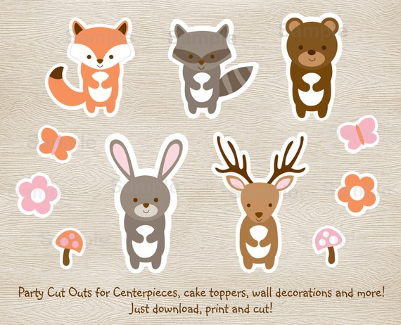 Pink Woodland Animal Cut Outs Woodland Baby Shower Girl
