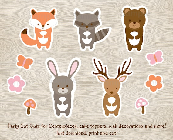 Beautiful Pink Woodland Animal Cut Outs / Woodland Baby Shower / Girl Woodland Animals  / Baby Shower Decor / Printable INSTANT DOWNLOAD A209