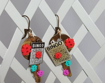 Re-purposed, upcycled assemblage vintage style bingo earrings