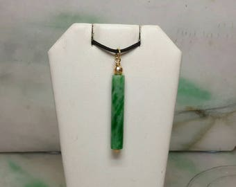 Green jade cylinder 14K yellow gold