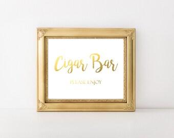 Gold Foil Printable Cigar Bar Sign, Wedding Cigar Bar Please Enjoy Sign, Reception Sign, Cigar Favors Sign, DIY Cigar Sign, Instant Download
