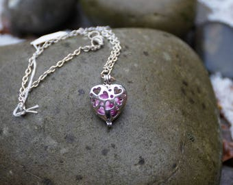 Pink Pearl and Heart Necklace