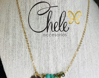 Dainty necklace bar with czech crystal turquoise