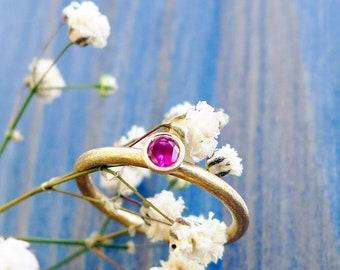 Pinky Gold Ruby Ring. Simple and Beautiful 14K Gold Ring Set with Pink Ruby. Pinky Gold Ring. Recycled Gold.