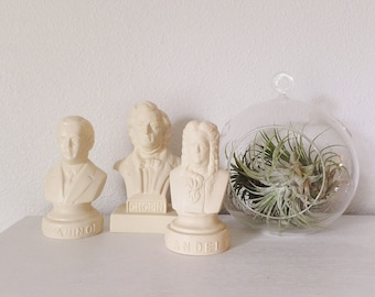 Music Composer Bust Mini Vintage Novelty Bust Plastic Busts Chopin Bust Handel Bust Rachmaninoff Bust Music Decor Gift for Music Lover