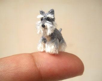 Miniature Schnauzer - Micro amigurumi Tiny Crochet Dog - Made To Order