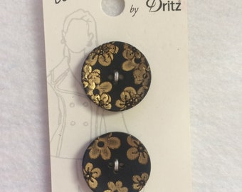"Belle Buttons by Dritz Black with Gold Flower Buttons Size 7/8"" (23mm)"