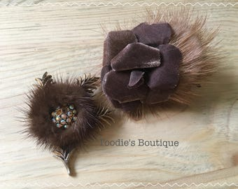 Pair of vintage real mink brooches