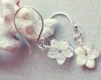 Memories of Summer - Mother of Pearl Flower Earrings - Handcarved  - Sterling Silver