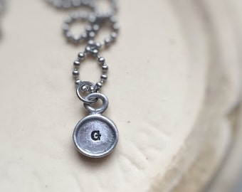 Typewriter Key Personalized Initial Vintage Necklace Pendant Letter Rustic Unisex Necklace for Him Gift for Her