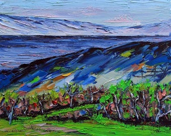 Original Painting, San Francisco Bay, Silicon Valley, Landscape Painting, California Art, Palette Knife, Textured Oil, Impasto Art, Colorful