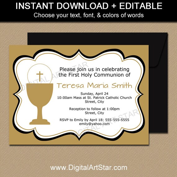 gold first holy communion invitation printable template 1st communion invitation diy editable invitation template digital pdf file