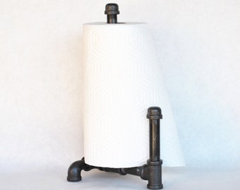 towel holder stand. Industrial Freestanding Paper Towel Holder With Guard, Pipe Farmhouse Decor, Kitchen Stand O