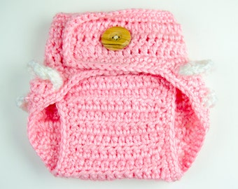 Crochet baby diaper cover, baby diaper cover, ruffled baby diaper cover