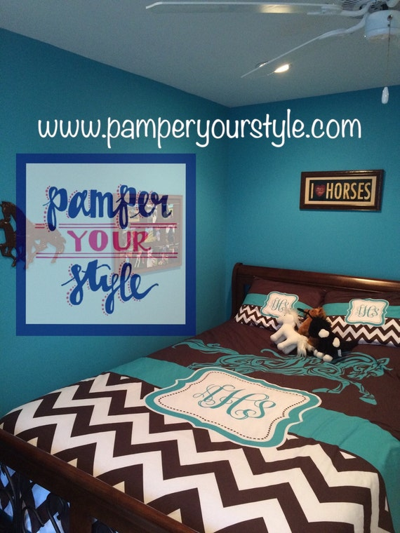 Horse Duvet Or Comforter Teal And Brown Horse Daybed