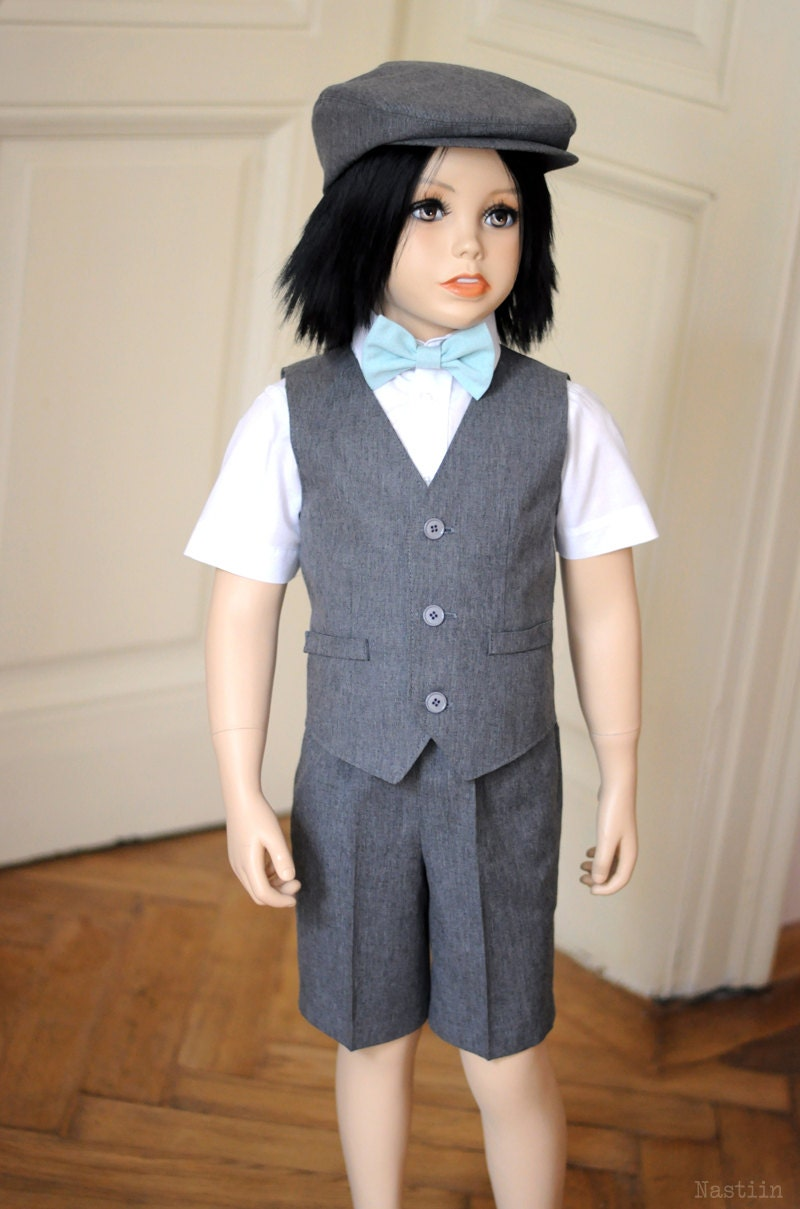 Toddler ring bearer outfit gray Baby boy wedding outfit for