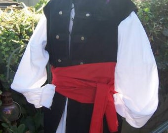 Mens Renaissance costume buccaneer Pirate swashbuckler (shirt, sash, and vest)