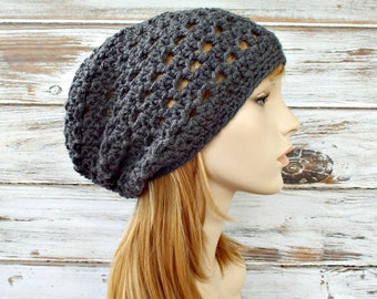 Crochet Hat Grey Womens Hat Slouchy Beanie Grey Hat Grey Beanie - Juliet Slouchy Hat in Grey - Womens Accessories Winter Hat - READY TO SHIP