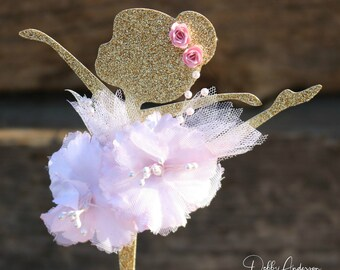 Ballerina Cake Topper - Ballerina Party Decorations - Ballerina Party Decor - Ballerina Party Centerpiece Pick - Ballerina Birthday Party