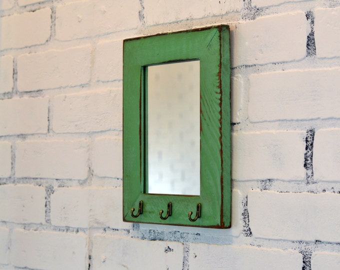 Entryway Mirror with Three Key Holder Hooks - Choose Your Size & Color - Reclaimed Cedar Mirror - Sizes: 4x4, 4x6, 5x5, 5x7, 4x10, 8x10