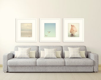 beach prints coastal wall art Ocean decor nautical wall decor print set of 3 ocean photography pale blue wall art seagulls shell photography