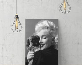 Marilyn Monroe Cuddling Dog Vertical /Canvas Print Home Decor/Iconic Wall Art/Gallery Wrapped Canvas Art/Wood Stretcher/Ready to Hang