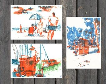 Postcards, Postcard Set, Fine Art Cards, Sketchbook Art, Orange, Blue Cards, Blank Cards, Color Ink Art, Sketch Print, Seascape Painting