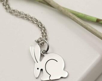 Sterling Silver Rabbit Necklace - Bunny Rabbit Jewellery - Spring Necklace - Rabbit Pendant