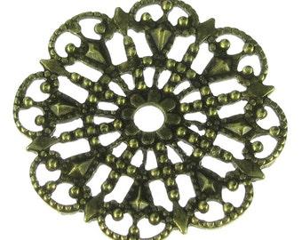 6 Brass Ox Round Filigree Jewelry Findings 328