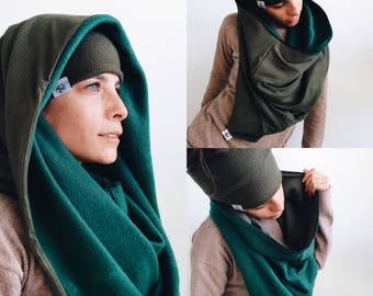 4-in-1 Cowl Shrug | Scarf, Mask, Hood, Neck, Warm | Aztec, Cowl, Convertible, Warm, Winter, Festival, Outdoor, Snowboard, Rib Knit / Fleece