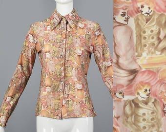 Medium Long Sleeve Boho Top Knit Boho Top Long Sleeve Bohemian Shirt Vintage 1970s 70s Novelty Print Disco Wing Collar