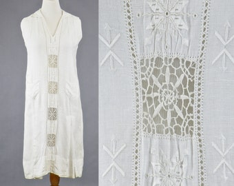 1920s Dress, Vintage 20s Embroidered Linen Spiderweb Lace Dress, 1920s Day Dress, Gatsby Garden Dress, Antique White Sailor Dress, M - L
