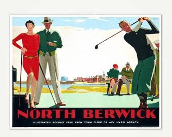 North Berwick Travel Poster Print - Vintage Golf Poster Art