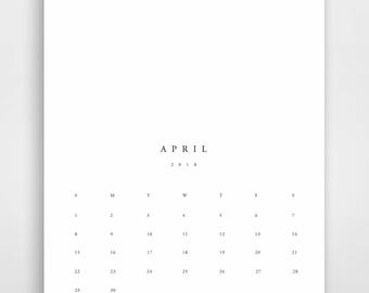 2018 Printable Calendar, Printable 2018 Wall Calendar, Printable 2018 Calendar, Calendar Print, Large Printable Wall Calendar, Minimalist