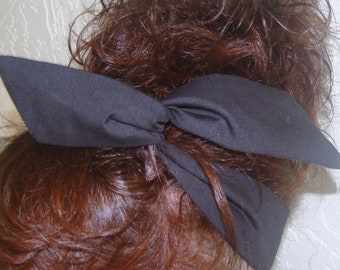 Dolly Bow, Black Wire Headbands Pick Your Solid Color School Spirit Bows Rockabilly