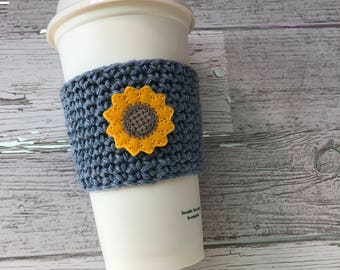 Sunflower Cup Cozy, Crochet Coffee Cozy, Coffee Sleeve, Drink Sleeve, Teacher Gift, Gift under 10, Party Favor
