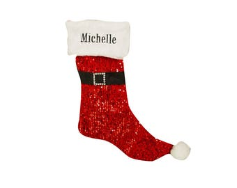 Red Sequin Santa Personalized Stocking, personalized stocking, christmas, xmas, christmas decor, jolly, santa claus, fur -gfyE11977372