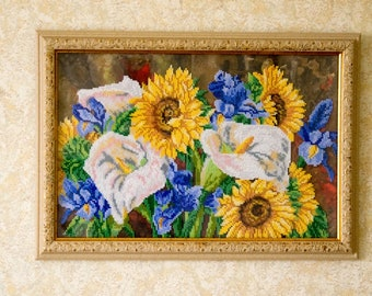 Beading on fabric, flowers, sunflowers, handmade, Czech glass seed beads embroidery, beads pattern