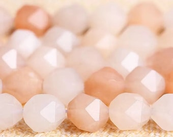 6/8/10mm Aventurine Peach Shade Mix Facet Quartz Loose Beads | Aventurine Bead Stone Pearl Supply