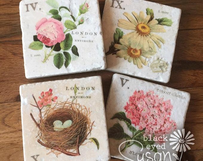 "4 Piece Pink English Garden Botanical Coaster Set of Natural Stone | 4"" x 4"" w/ Felt Bottoms"