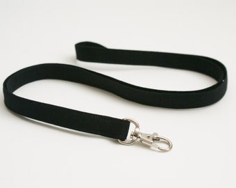 Solid Black Skinny Fabric Lanyard - Thin Lanyard with Swivel Clasp - 1/2 Inch Wide Key Lanyard - 19.5 Inch Long Key Strap - Teacher Lanyard