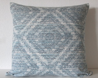 Rustic Rain aztec diamond teal blue decorative pillow cover