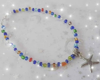 Starfish bead anklet, beaded ankle bracelet, glass bead anklet, bright bead anklet, summer jewellery, holiday jewellery, beach jewellery