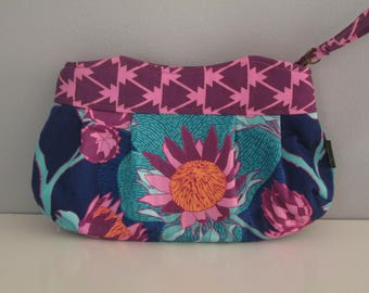 Small Floral Clutch, Wristlet Clutch, Purple Clutch Purse, Evening Clutch, Wedding Accessory, Bridesmaid Clutch
