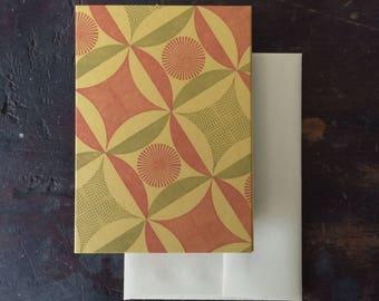 Robbing Peter Letterpress Notecard - Orange and Olive on Gold