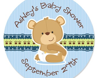 24 Boy Teddy Bear Circle Stickers - Personalized Baby Shower and Birthday Party DIY Craft Supplies