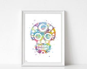 Skull art print, watercolor illustration-multicolor, small and large format, birthday gift idea, modern decor