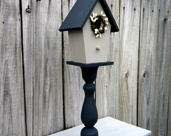 Birdhouse, Decorative, Painted Wood, Pedestal, Charcoal Gray, Light Gray, Pip Berry Accent, Home Decor, Primitive, Indoor Bird House