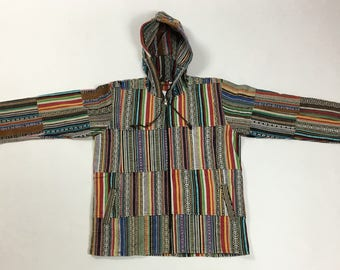 Large - Full Zip Patch Cotton Hooded Jacket - Made In Nepal